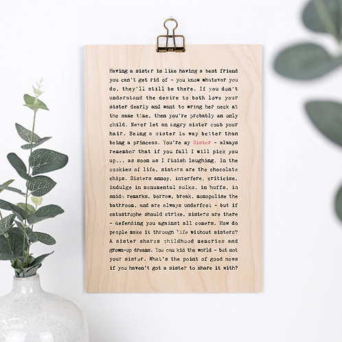Sister Gift Wooden Sign with Hanger