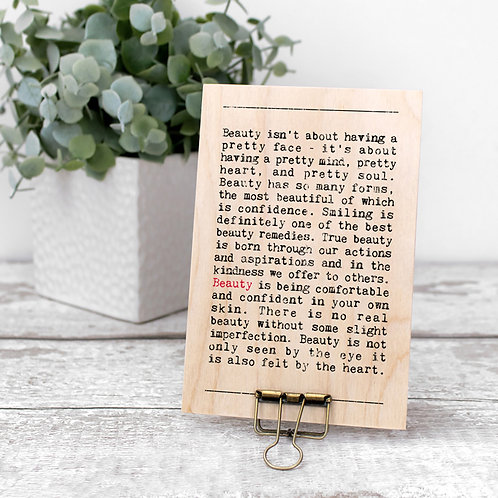 Beauty Quotes Wooden Sign with Hanger