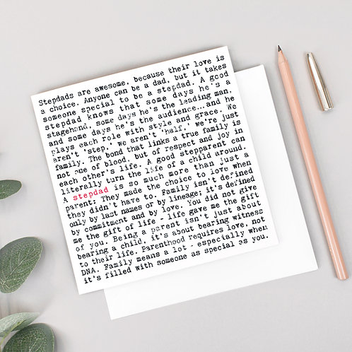 Stepdad Wise Words Quotes Card