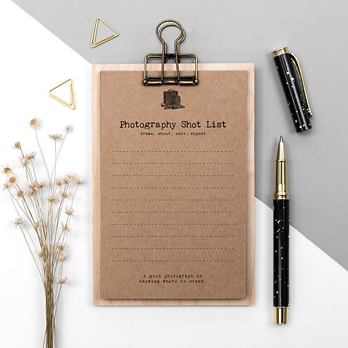 Photography Shot List Cards on Mini Clipboard x 3