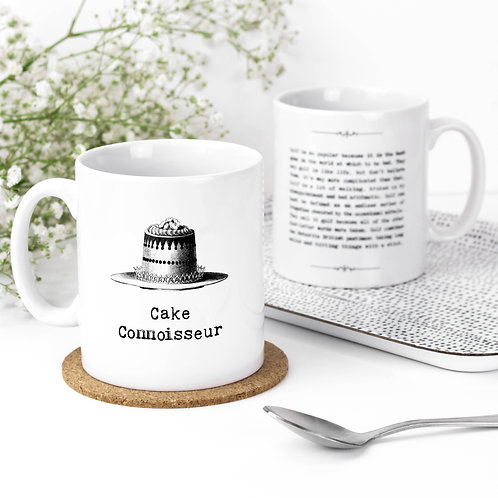 Cake Connoisseur Baking Themed Quotes Mug