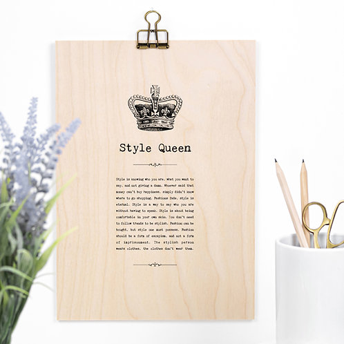 Style Queen Wooden Sign with Hanger