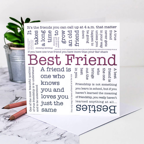 Best Friend Quotes Card x 6