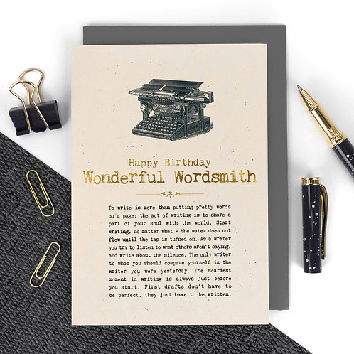 Writers Luxury Foil Birthday Card with Quotes
