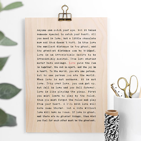 Love Quotes Gift Wooden Sign with Hanger