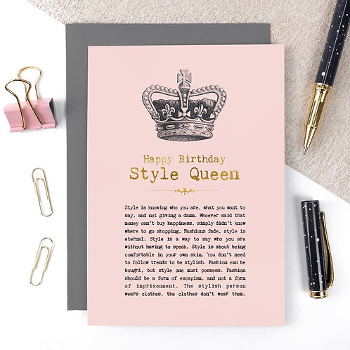 Style Queen Luxury Foil Birthday Card with Quotes