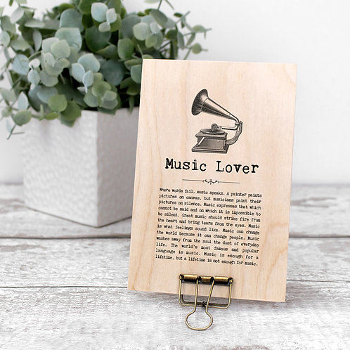 Music Quotes Mini Wooden Sign with Hanger