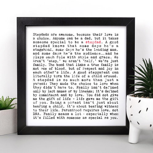 Stepdad Wise Words Quotes Print for Him