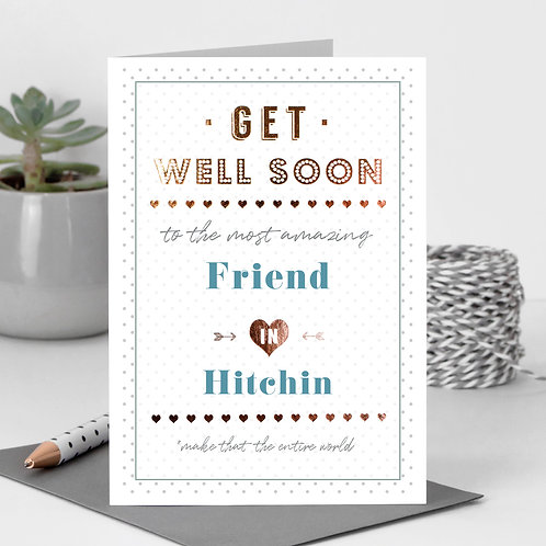 Get Well Dotty Personalised Card in Blue x 6