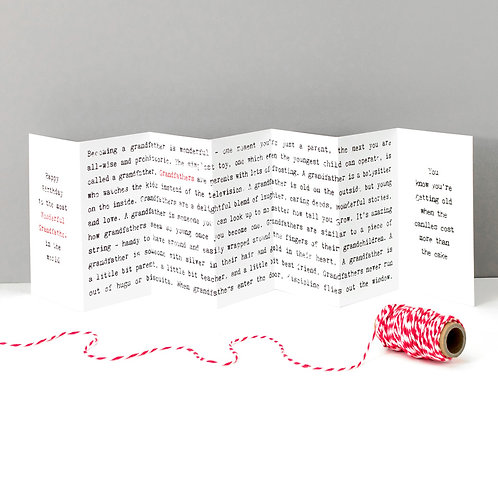Wonderful Grandfather Wise Words Concertina Card x 6