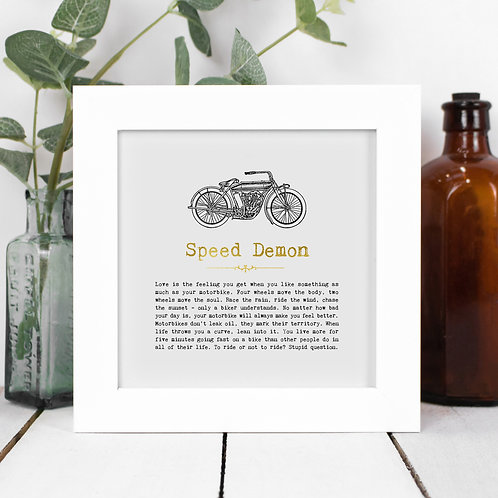 Motorbikes Personalised Framed Quotes Print