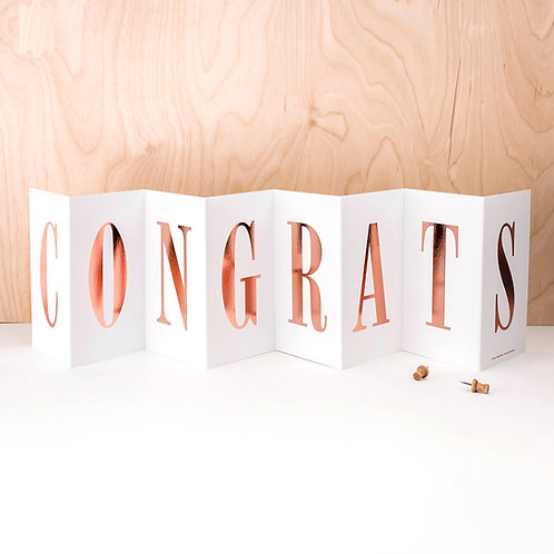 Graduation 'CONGRATS' Foil Concertina Card