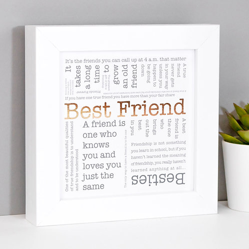 Best Friend Word Cloud Mini Framed Print x 3