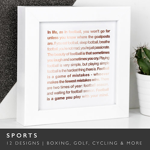 Wise Words SPORTS Copper Framed Prints x 3