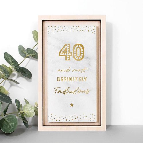 40 and Fabulous Metallic Gold Marble Print x 3