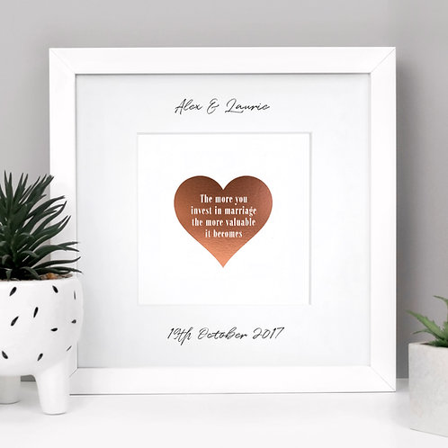 Marriage Personalised Framed Wedding Print