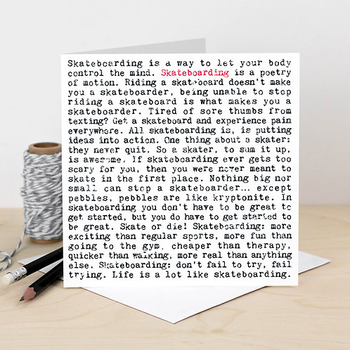 Skateboarding Wise Words Quotes Card