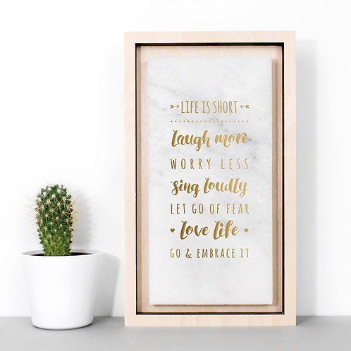 Life List   Inspiring Gold Marble Plaque