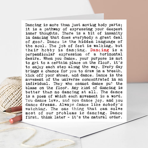 Dancing Wise Words Greeting Card for Dancers