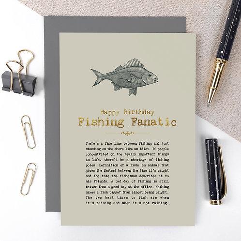 Fishing Fanatic Vintage Foil Birthday Card x 6