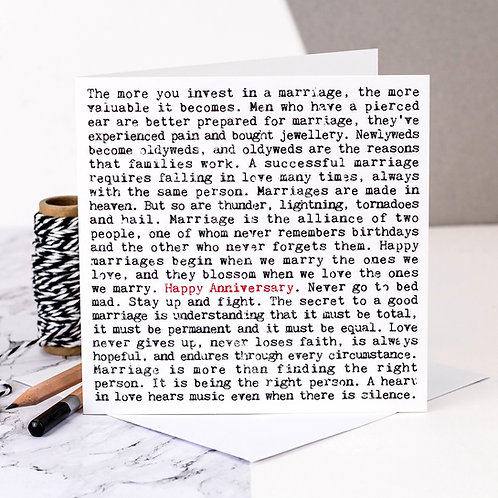 Anniversary Wise Words Quotes Card for Husband/Wife