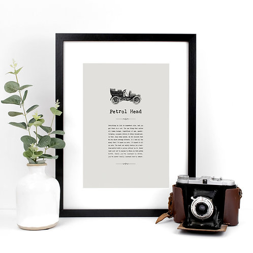 Cars Vintage Grey A4 Quotes Print x 3