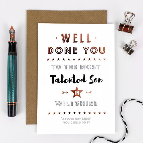 Well Done | Rose Gold Personalised Card x 6