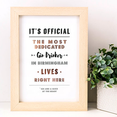 The Most Dedicated Personalised Metallic Print x 3