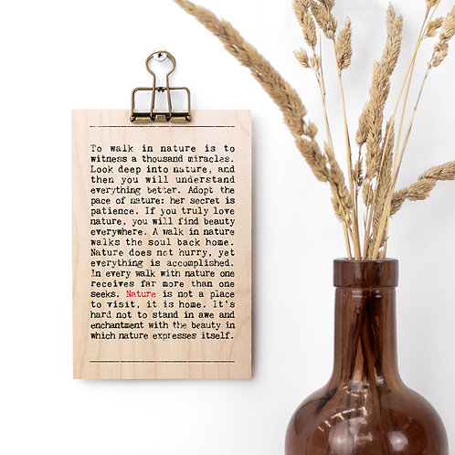Nature Quotes Wooden Sign with Hanger