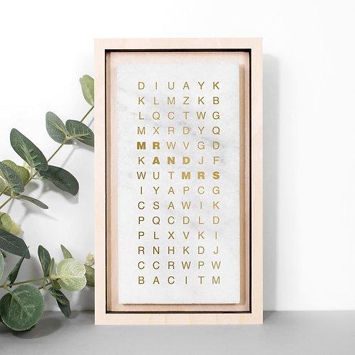 Typographic Marble Stone Wedding Plaque with Metallic Foil