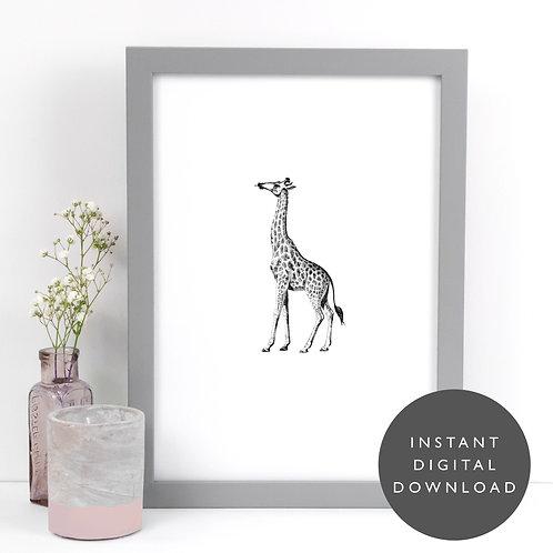 Safari Animal Giraffe A4 Printable Nursery Wall Art [DOWNLOAD ONLY]
