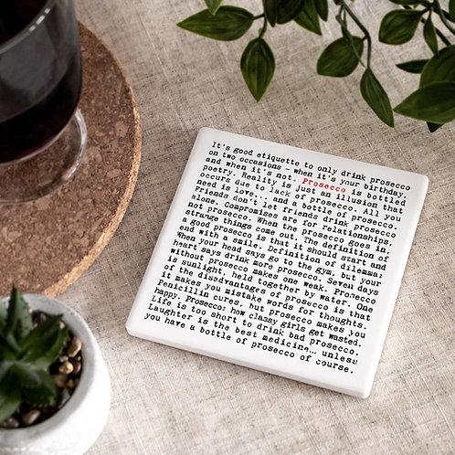 Prosecco Wise Words Ceramic Coaster x 3