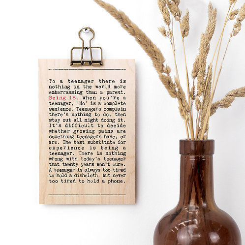 18th Birthday Wise Words Wooden Plaque with Hanger x 3