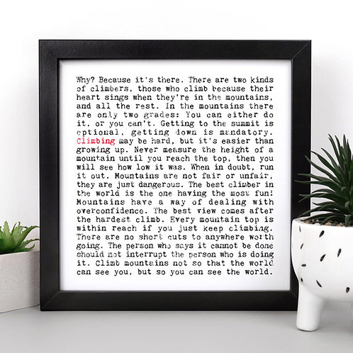 Climbing Quotes Personalised Print