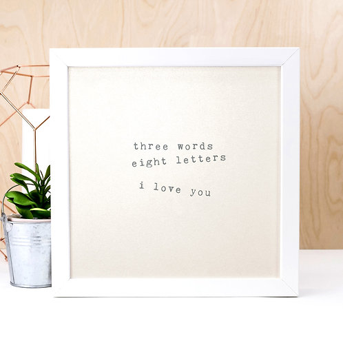 Three Words I Love You | Pearl Anniversary Print