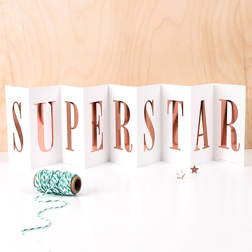'SUPERSTAR' Foil Concertina Card x 6