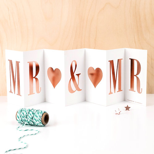 'MR AND MR' Foil Concertina Card x 6