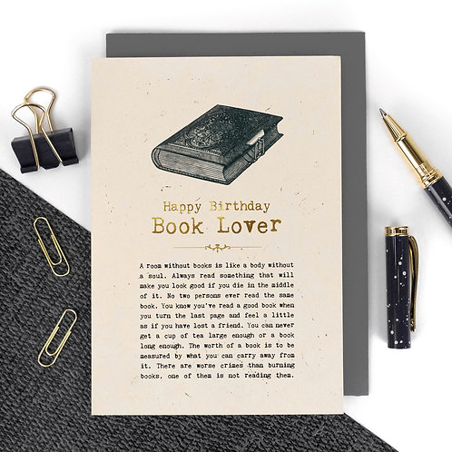 Book Lover Luxury Foil Birthday Card with Quotes