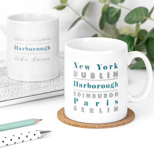 No Place Like Home Personalised Dotty Mug x 3