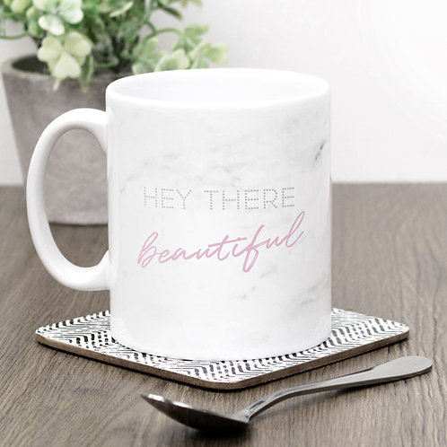 Hey There Beautiful Marble Effect Mug