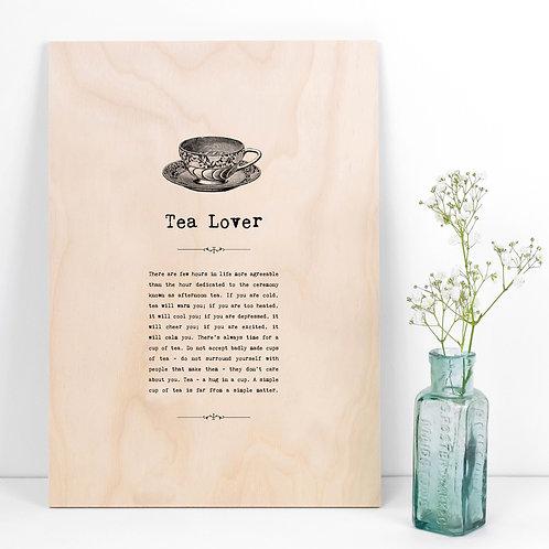 Tea Lover A4 Wooden Quotes Plaque x 3