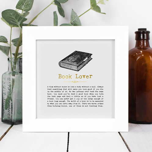 Book Lover Personalised Framed Quotes Print