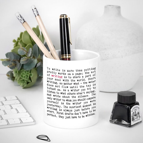 Writing Quotes Ceramic Pen Pot for Writers