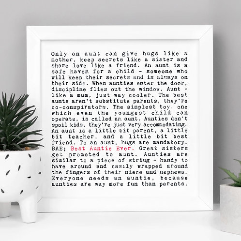 Best Auntie Personalised Print for Her