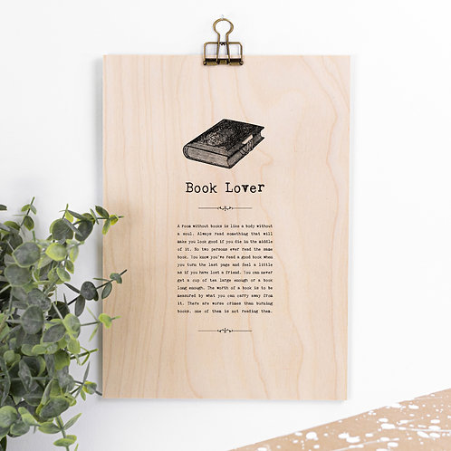Book Lover Wooden Sign with Hanger