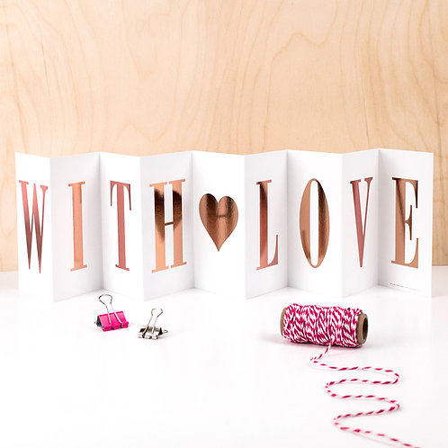 WITH LOVE Heartwarming Fold Out Banner Card