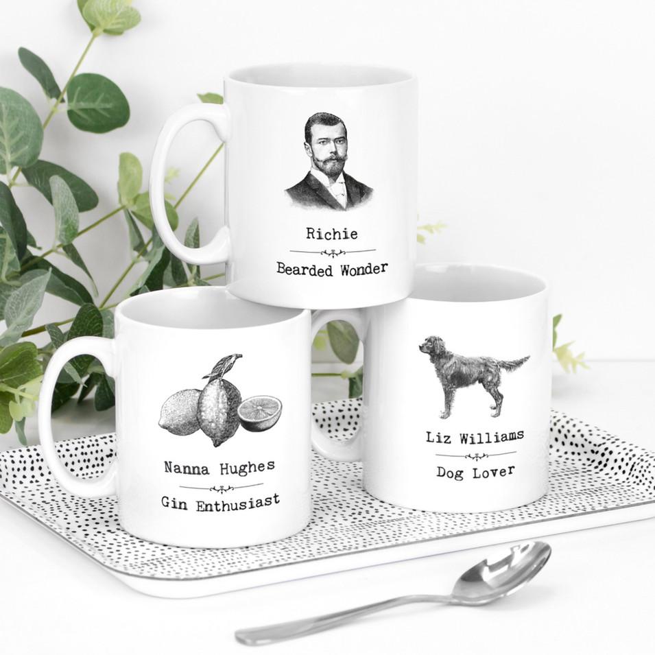 Mugs Vintage Words Personalised Trio