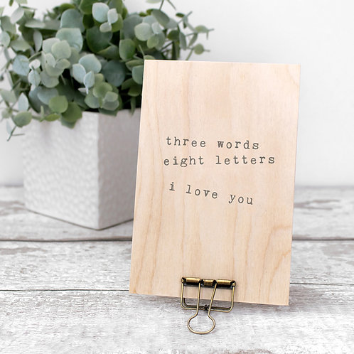 I Love You Wooden Plaque with Hanger x 3