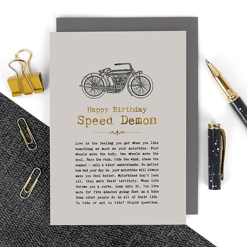 Speed Demon Motorbikes Luxury Foil Birthday Card