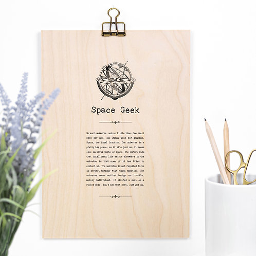 Space Geek Wooden Sign with Hanger